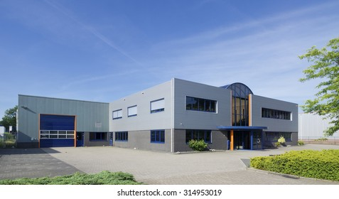 exterior of a modern warehouse building with office