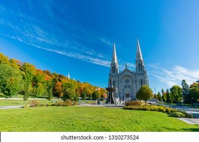 Exterior morning view of the Basilica of Sainte-Anne-de-Beaupre church at Quebec, Canada