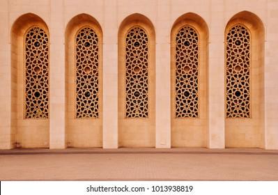 Exterior of most iconic Al Fateh grand mosque in evening.  Manama, Bahrain