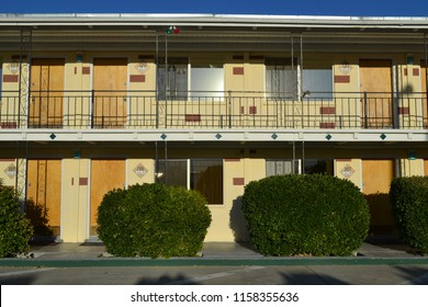 Exterior of a  motel in the United States