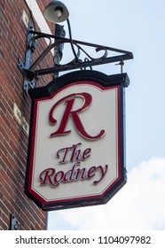 An exterior mounted pub sign for the pub The Rodney Warrington May 2018
