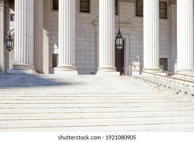 The exterior of a municipal or government building or courthouse.