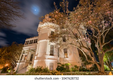 Exterior night view of the beautiful Mansion Court at Sacramento