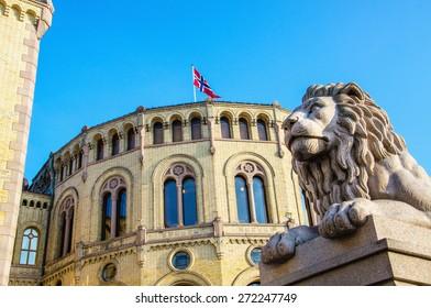 Exterior of the Norwegian Parliament (Stortinget) in Oslo, Norway