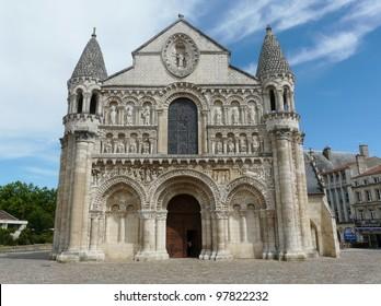 Exterior of Notre Dame la Grande church in Poitiers, France