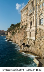 Exterior of the oceanographic museum in Monaco. In 1906 the Océanographic Institute was founded by Prince Albert I. The accompanying museum was founded in 1910 by the same prince