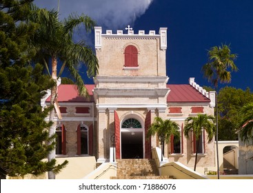Exterior of old Lutheran Church in Charlotte Amalie on St Thomas in the US Virgin Islands