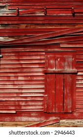 Exterior of an old red barn