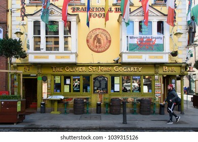 Exterior of The Oliver St. John Gogarty Bar (Gogarty's) in the Temple Bar area of Dublin, Ireland on the 21st of February 2018.