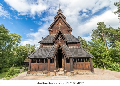 Exterior of one of the famous Norwegian wooden stave churches, located on Bygdoy island, Oslo, Norway