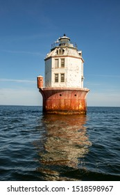 Exterior of outhouse on Point No Point Ligth off coastal Virginia in Chesapeake Bay.
