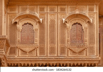 Exterior of Patwon Ki Haveli in Jaisalmer, Rajasthan state of India. A haveli is a traditional townhouse or mansion in the Indian subcontinent.
