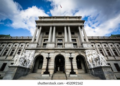 The exterior of the Pennsylvania State Capitol, in Harrisburg, Pennsylvania.