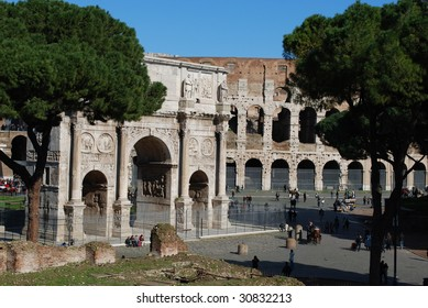 Exterior Profile of the Arch of Constantine and the Roman Colosseum, Rome, Italy