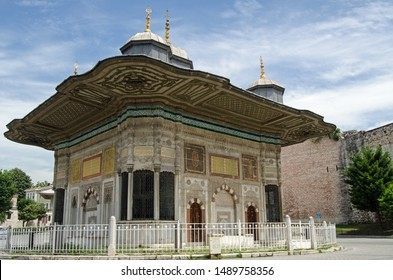 Exterior of the public fountain constructed in 1728 for Sultan Ahmed III just outside the gates to the famous Topkapi Palace in Istanbul, Turkey.  Designed in the Ottoman 'tulip' style.