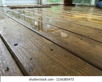 Exterior sealed wooden floor on porch, wet from rain, close up