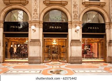 Exterior shop windows of the PRADA luxury boutique store in Galleria Vittorio Emanuele II gallery in Milan, Italy on October 8, 2010.