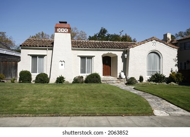 Exterior shot of a classic home located on the Peninsula of California south of San Francisco.