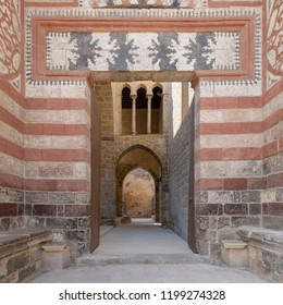 Exterior shot of entrance of Al-Muayyad Bimaristan (hospital) historic building, Darb Al Labana district, Old Cairo, Egypt