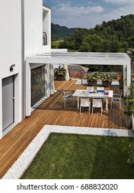 exterior shots of a modern  outdoor with dining table