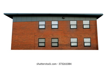 Exterior side view of a modern office building, white background.