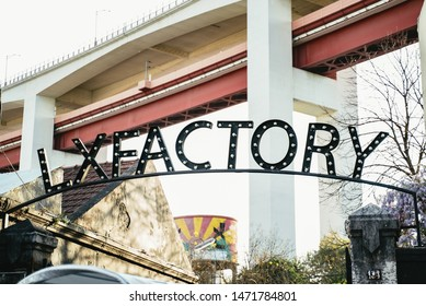 Exterior sign in the LX Factory complex in Lisbon, Portugal a converted industrial complex with arty shops and restaurants