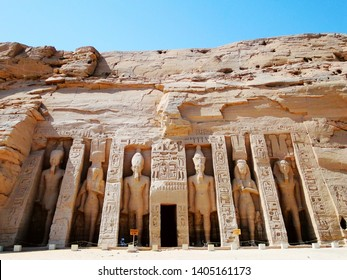 The exterior of Small Temple, Abu Simbel in Egyptian, in Nubia village in Egypt. The complex is part of theUNESCOWorld Heritage Siteknown as the Nubian Monuments.
