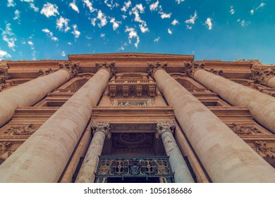 Exterior of St. Peter Basilica in Vatican, Rome, Italy, wide shot, bottom view