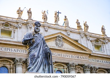 The Exterior of St Peter's Basilica in Vatican City just outside of Rome, Italy