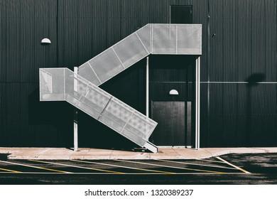 Exterior staircase and building facade.