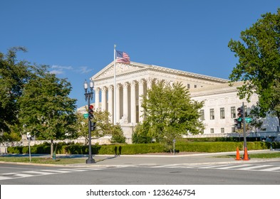Exterior of the Supreme Court Building in Washington DC on a Sunny Day