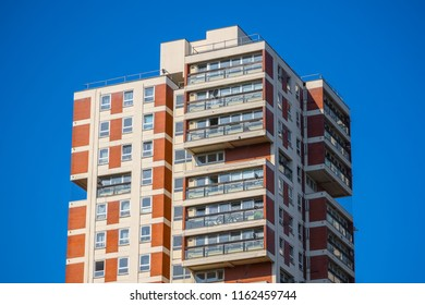 Exterior of a tower blocks around Canada Water in London