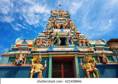 Exterior of traditional Hindu temple in Galle road , Colombo, Sri Lanka.