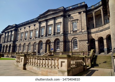 Exterior the University of Edinburgh law faculty. Beautiful Victorian building with ornate pillars and columns. The Old College, South Bridge Edinburgh Scotland. Aug 2019