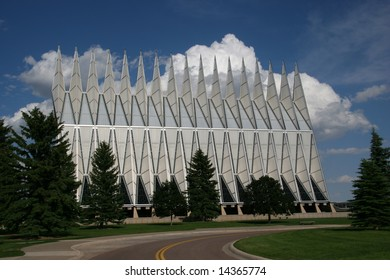 Exterior view of the Air Force Academy Chapel, Colorado Springs, Colorado, USA