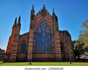 An exterior view of the architectural detail of the Cathedral in Carlisle, Cumbria