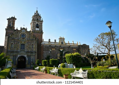 Exterior view of the Baroque architecture Temple of San Francisco Acatepec in Cholula, Puebla Mexico.