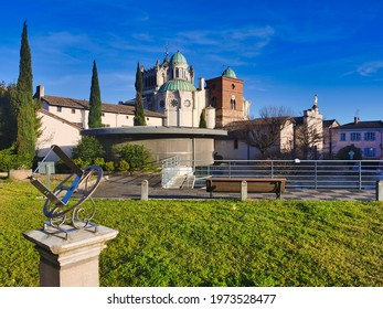 Exterior view of the basilica of Ars-sur-formans. Catholic church, village of saint Jean-Marie Vianney. France - Shutterstock ID 1973528477