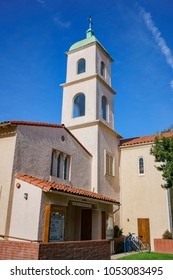 Exterior view of the Bay Shore Community Congregational Church on at Long Beach, Los Angeles County, California