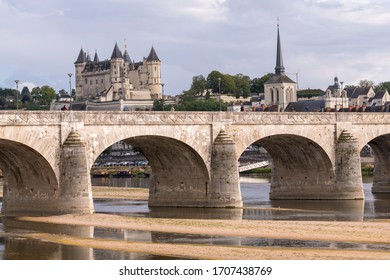 Exterior view of the beautiful city of Saumur with its castle in the Loire Valley, France (Europe)