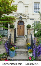 Exterior View of a Beautiful Old English Town House and Garden