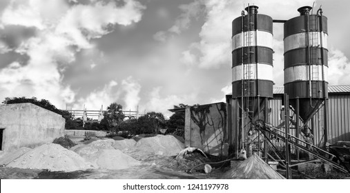 Exterior view of a cement factory, India