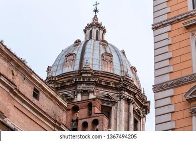 Exterior view of Chiesa Sant'Andrea della Valle in Rome, Italian capital.