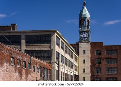 An exterior view of the clock tower and factory of the abandoned Scranton Lace factory in Scranton, Pennsylvania.