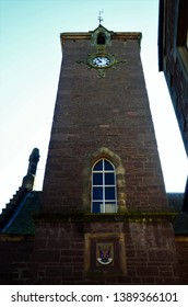 An exterior view of the clock tower on the town hall building in Crieff, Perthshire