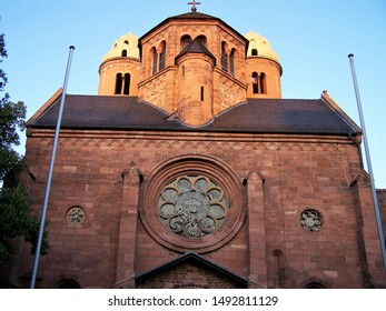 Exterior view (close up) of St Paul's Church, a Romanesque church of the early 11th century CE on the site of an earlier medieval castle in the city of Worms, Germany. Today part of a monastery.