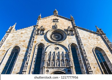Exterior view of Como Cathedral (Duomo di Como) (Italian: Cattedrale di Santa Maria Assunta), the Roman Catholic cathedral of the city of Como, Lombardy, Italy