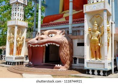 Exterior view of the entrance of the Angurukaramulla Temple, also known as Bodhirajaramaya Temple, in Negombo, Sri Lanka.
