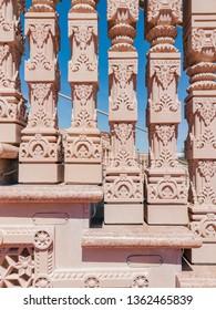 Exterior view of the famous BAPS Shri Swaminarayan Mandir at Chino Hills, California