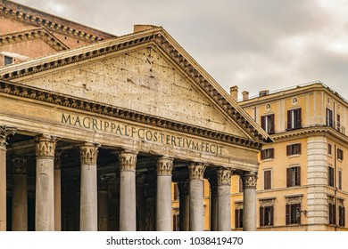 Exterior view of famous landmark roman pantheon building, Rome, Italy